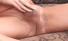 Naked Manly shemale On The Couch Rubbing Her penis And Penetrating Her asshole With A Special Dildo