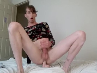 Sissy trap transsexual anal training jizz.