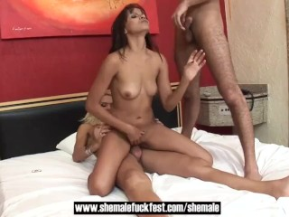cute blonde tranny rides Straight lovers in threesome - ts Fuck Fest
