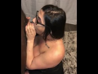 Sloppy head from my tgirl neighbor before her man gets home!