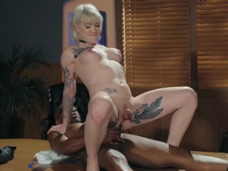 Transangels - Busty blonde ts Lena Kelly Takes A BBC Up Her behind raw