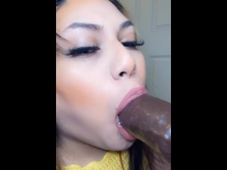 ladyboy chick blow big black cock and gags on it