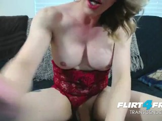 pretty Flirt4Free tgirl Tyra Scott Strokes Her giant rod and Spreads Her behind