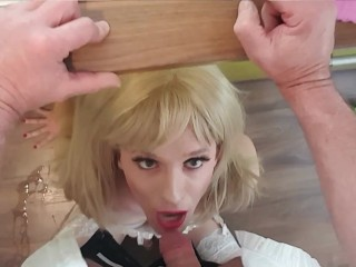 transexual Sub has to work as house slave which gets banged deeply in her mouth