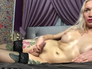 boosty huge dicked russian amatear transexual eva jerks off on webcam