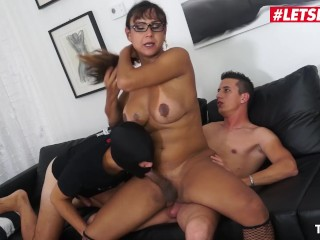 LETSDOEIT - Busty Hot t-girl behind nailed By Two Horny Teens